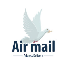 Dove bird air post mail delivery vector icon