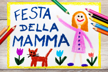 Colorful drawing - Italian Mother's Day card with Happy Mother's Day