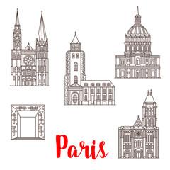 Paris travel landmarks vector buildings line icons