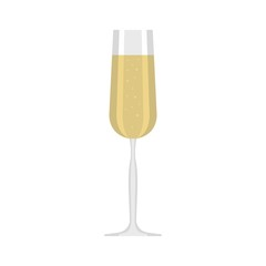 Glass of champagne icon. Flat illustration of glass of champagne vector icon for web