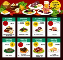 Vector menu price cards for German cuisine