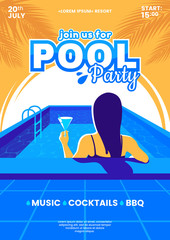Summer pool party vector illustration. Beautiful young girl in swimming pool with cocktail in hand. Colorful invitation a4 poster. Eps 10.