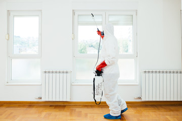 Exterminator in work wear spraying pesticide or insecticide with sprayer.