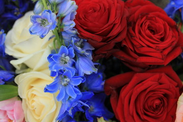 Red white and blue wedding flowers