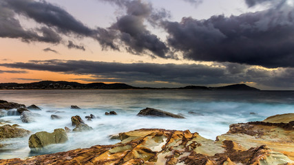 Cloudy Sunrise Seascape from Rock Platform