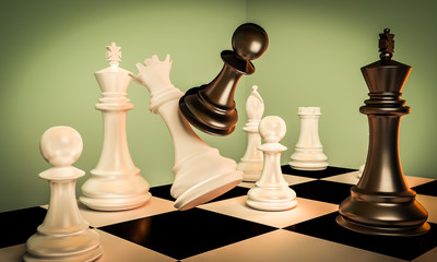 Black pawn are leader to attack with white queen chess to victory with teamwork. Business concept 3d rendering for leadership.