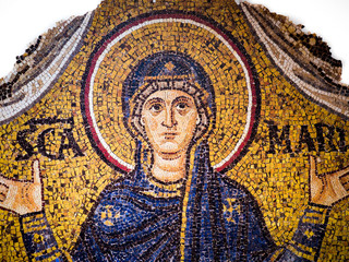 Byzantine mosaic on a gold background representing the Virgin Mary.