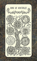 Nine of pentacles. Minor Arcana tarot card. The Magic Gate deck. Fantasy engraved illustration with occult mysterious symbols and esoteric concept, vintage background