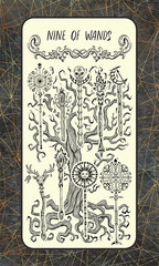 Nine of wands. Minor Arcana tarot card. The Magic Gate deck. Fantasy engraved illustration with occult mysterious symbols and esoteric concept, vintage background