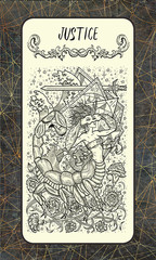 Justice. Major Arcana tarot card. The Magic Gate deck. Fantasy engraved illustration with occult mysterious symbols and esoteric concept, vintage background