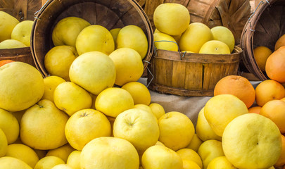 full frame close up of wooden buckets filled with ripe yellow grapefruit and oranges at a farmer's market
