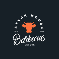 Barbecue hand written lettering label