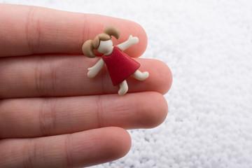 Little girl  figurine in hand on white background