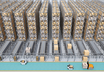 Front view of modern Automated Logistics Center's interior. AGV and autonomous forklift carrying goods. Concept for automated logistics solution.