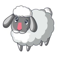Cute sad sheep icon, cartoon style
