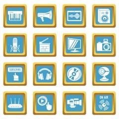Multimedia internet icons set sapphirine square vector