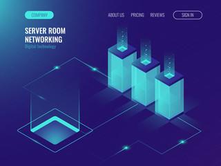 Server room banner, web hosting and processing of big data concept, ultraviolet isometric vector illustration