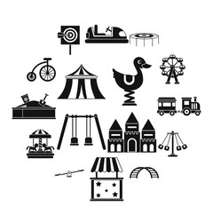Amusement park icons set, simple style