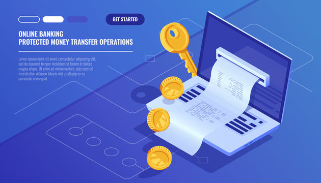 Online banking, internet electronic bill receipt, protection money transaction, mobile bank, laptop with paper receipt isometric vector technology