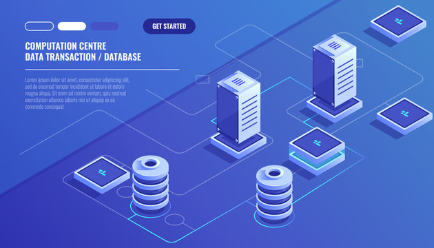 Computation of big data center, information processing, database. internet traffic routing, server room rack isometric vector technology