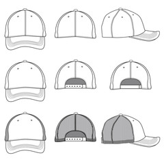 Vector template of a baseball cap