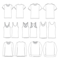 Vector template of Various Clothing