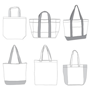 Vector template of tote bags
