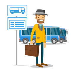 A white man waiting a bus on a stop with timetable. A caucasian male with a case waits in a bus station. Transportation of peoople concept. Vector cartoon illustration isolated on white background.