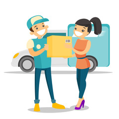 A white man courier delivers a boxed package to a woman. Courier service, delivery and transportation concept. Vector cartoon illustration isolated on white background.