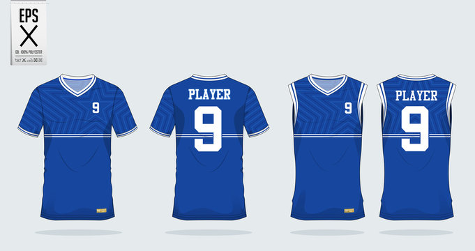 Blue Star t-shirt sport design template for soccer jersey, football kit and tank top for basketball jersey. Sport uniform in front and back view. Tshirt mock up for sport club. Vector Illustration.