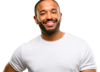 African american man with beard confident and happy with a big natural smile laughing isolated over white background
