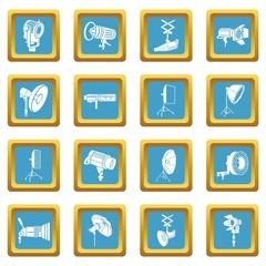 Photography icons set sapphirine square vector