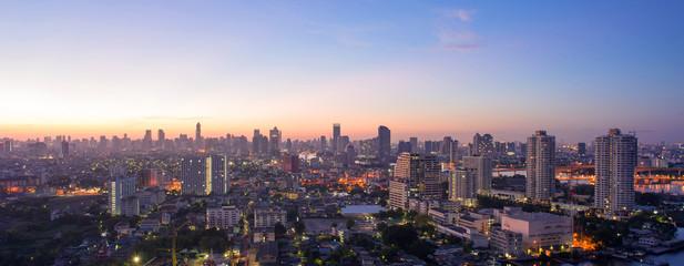 Panorama of Bangkok city skyline.