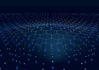 Perspective view on honeycomb. Hexagon pattern background. Isometric geometry