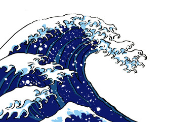 版権切れ有名絵画の模写「北斎の波」