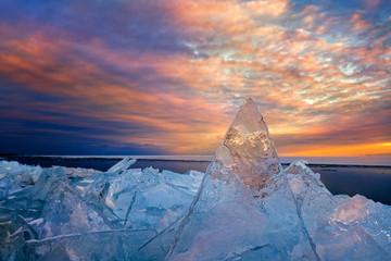 Sunset Lake Superior Winter Ice
