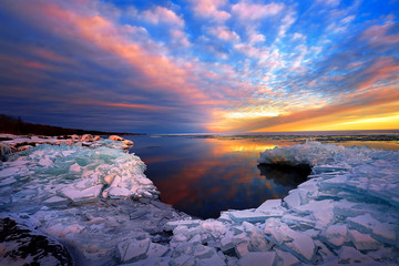 Sunset Lake Superior Winter Ice