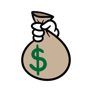 Cartoon Hand Holding Bag of Money