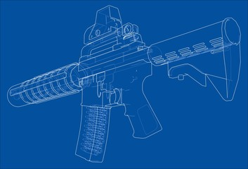 Machine Gun. Vector