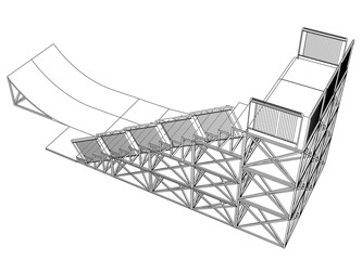 Ramp concept outline. Vector