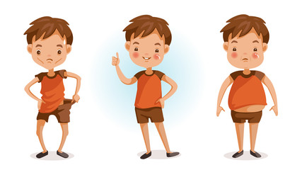 Fat and thin.Boy of full figured portraits. Changes in body weight. Three forms. fat, thin, slender, bad, excellent. Children's health and growth concept. Vector illustrations isolated
