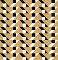 Black and gold geometric pattern vector. Square background.