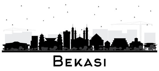 Bekasi Indonesia City Skyline Silhouette with Black Buildings Isolated on White.