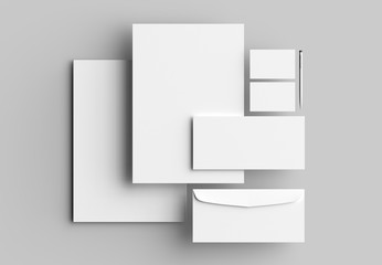 Corporate identity stationery mock up isolated on gray background. 3D illustrating.
