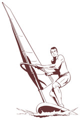 Windsurfer at sea. Stock illustration.