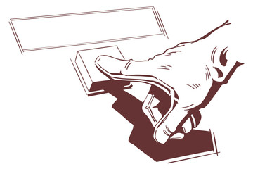 Hand pushes button. Stock illustration.