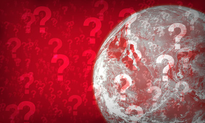 World of red question mark. Elements of this image furnished by NASA.