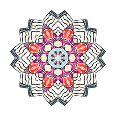 Beautiful mandala ornament in embroidery stitches style, decoration on white background for your design