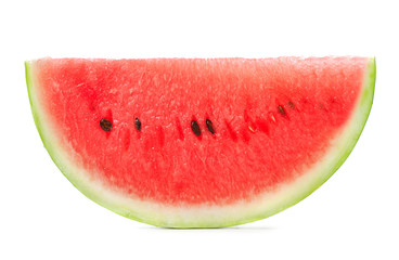 single slice of watermelon isolated on white background
