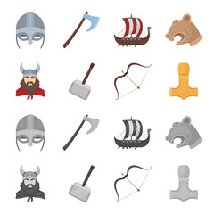 Viking in helmet with horns, mace, bow with arrow, treasure. Vikings set collection icons in cartoon,monochrome style vector symbol stock illustration web.